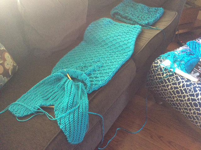 Mermaid Tail Blanket On The Needles
